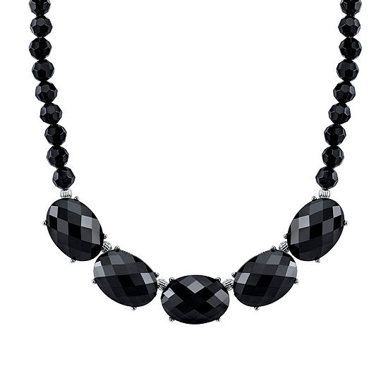1928 Vintage Inspirations Womens Black Oval Collar Necklace