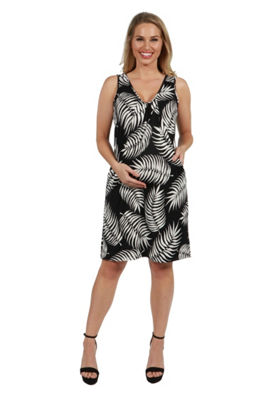 24Seven Comfort Apparel Aviana Feather Pattern Maternity Mini Dress