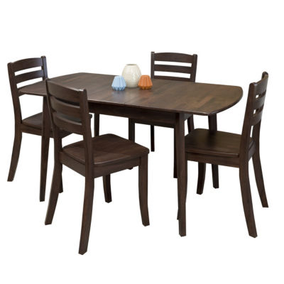 CorLiving Dillon 5pc Extendable Oblong Stained Solid Wood Dining Set