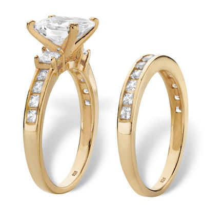 Diamonart Womens 4 1/4 CT. T.W. White Cubic Zirconia 14K Gold Over Silver Bridal Set