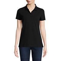 St. Johns Bay Womens Short Sleeve Knit Polo Shirt