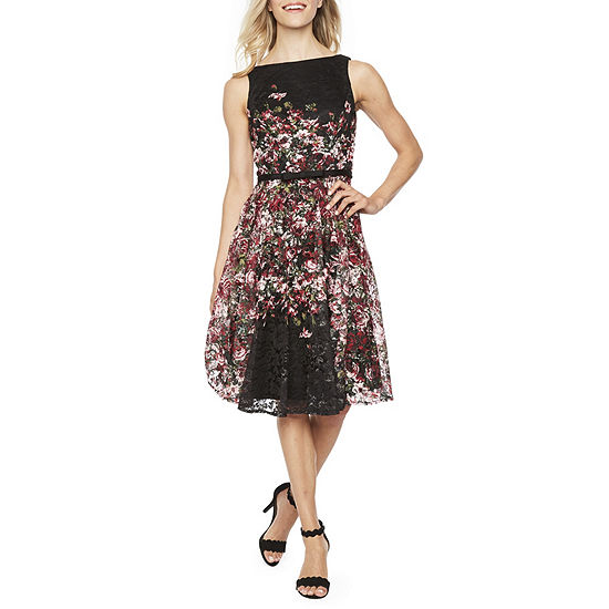 601841f5b1 Danny   Nicole Sleeveless Lace Floral Fit   Flare Dress JCPenney