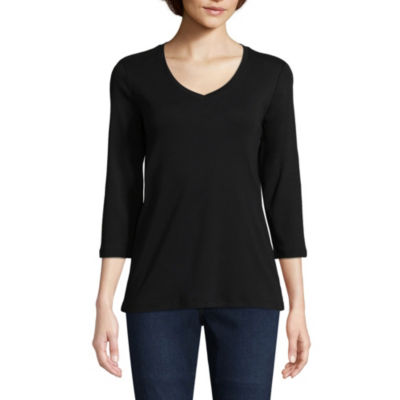 St. John's Bay 3/4 Sleeve V-Neck T-Shirt - Tall
