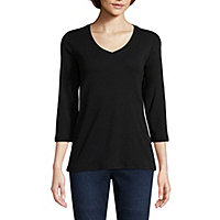 ce28c273 St. John's Bay 3/4 Sleeve V-Neck T-Shirt - Tall