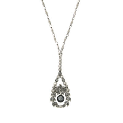 1928 Vintage Inspirations Womens Gray Flower Pendant Necklace