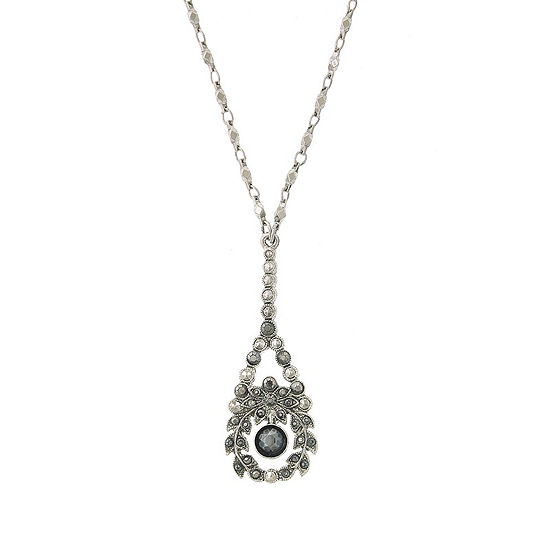 1928 Vintage Inspirations Gray 16 Inch Link Flower Pendant Necklace