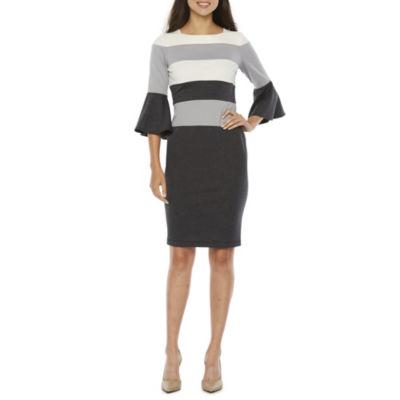 Danny & Nicole 3/4 Bell Sleeve Stripe Sheath Dress