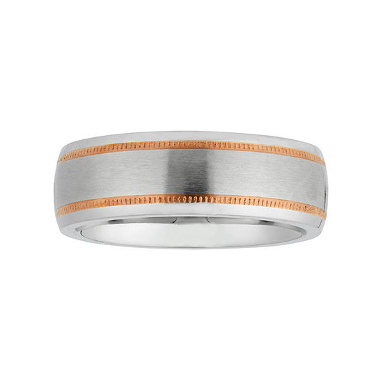 Mens 8mm 10k Rose Gold Cobalt Wedding Band