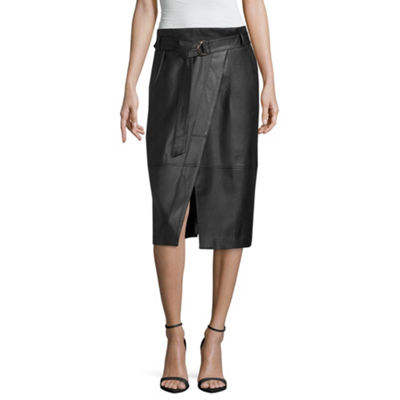 Worthington Womens Mid Rise Midi Wrap Skirt