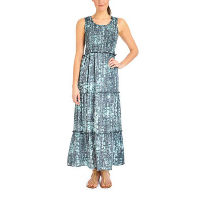 NY Collection Printed Sleeveless Tiered Skirt Maxi Dress - Petites