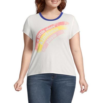 Arizona Short Sleeve Crew Neck T-Shirt-Womens Juniors Plus