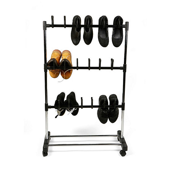 Mind Reader 18 Pair Rolling Footwear Organizer Stand, Black