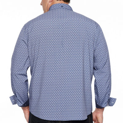 Society Of Threads 4 Way Stretch Long Sleeve Button-Down Shirt-Big and Tall