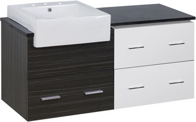 48.75-in. W Wall Mount White-Dawn Grey Vanity SetFor 3H8-in. Drilling Black Galaxy Top