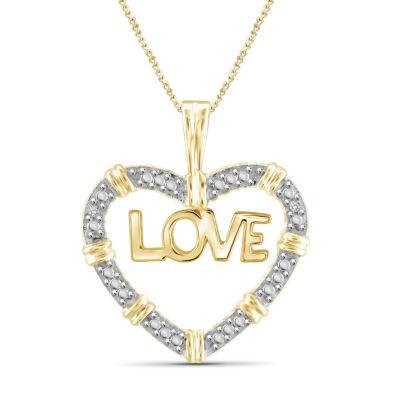 Womens Diamond Accent White Diamond Brass Pendant Necklace