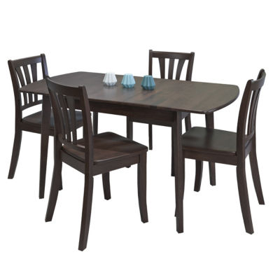 CorLiving Dillon 5pc Extendable Oblong Cappuccino Stained Solid Wood Dining Set