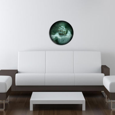 "Metal Wall Art Decor Tempest 24"" Round"""