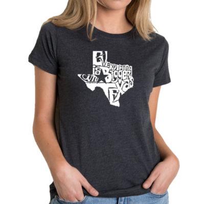 Los Angeles Pop Art Women's Premium Blend Word ArtT-shirt - Everything is Bigger in Texas