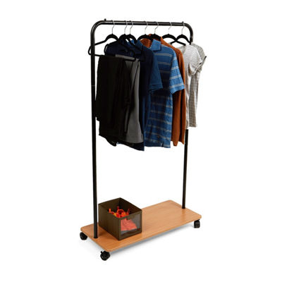 Mind Reader Heavy Duty Single Rolling Garment Rack, Black