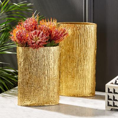 Two's Company Set Of 2 Textured Tree Decorative Vases