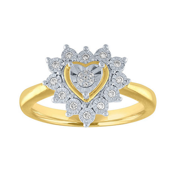 Womens 1/10 CT. T.W. Genuine White Diamond 14K Gold Over Silver Sterling Silver Cocktail Ring