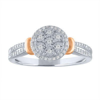 Diamond Blossom Womens 1/6 CT. T.W. Genuine White Diamond 14K Rose Gold Over Silver Sterling Silver Cocktail Ring