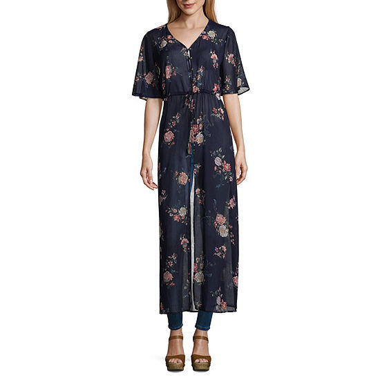 Rewind Womens V Neck Short Sleeve Kimono-Juniors