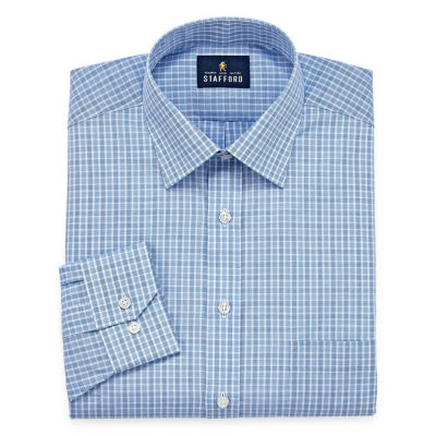 Stafford Travel Easy-Care Broadcloth - Big And Tall Long Sleeve Broadcloth Checked Dress Shirt
