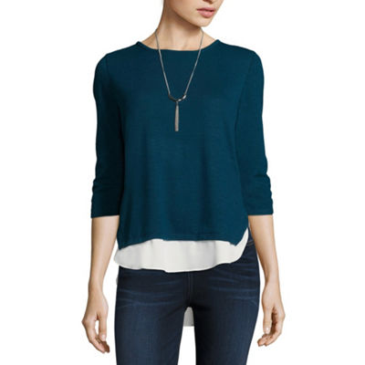 by&by Womens Crew Neck 3/4 Sleeve Knit Blouse-Juniors