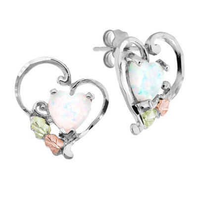 Black Hills Gold Landstroms Lab Created White Opal Sterling Silver Heart Stud Earrings