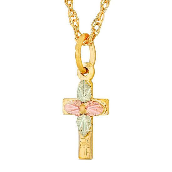 Black Hills Gold Landstroms Womens 10K Gold Cross Pendant Necklace