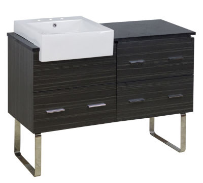 48.75-in. W Floor Mount Dawn Grey Vanity Set For 3H8-in. Drilling Black Galaxy Top