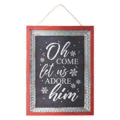 North Pole Trading Co. Come Let Us Adore Him Wall Sign