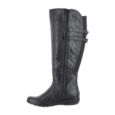 Easy Street Womens Tess Wedge Heel Zip Riding Boots