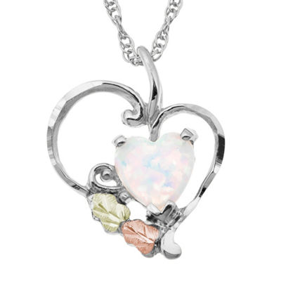 Black Hills Gold Landstroms Womens Lab Created White Opal Sterling Silver Heart Pendant Necklace