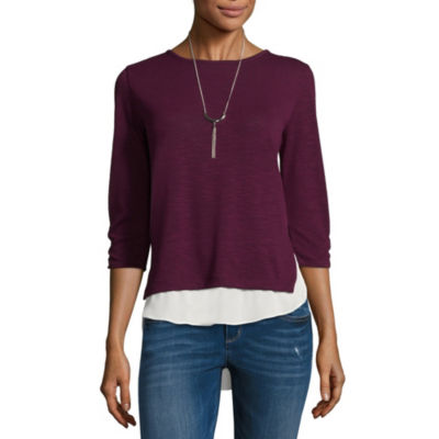 by&by Long Sleeve Scoop Neck Knit Blouse-Juniors