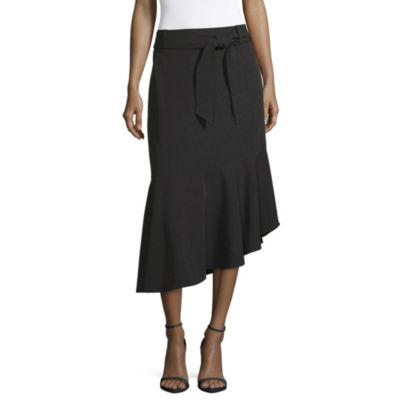 Worthington Womens Mid Rise Midi Flared Skirt