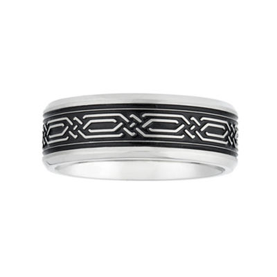 Mens 7.5mm Stainless Steel Wedding Band