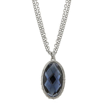 1928 Vintage Inspirations Womens Blue Brass Oval Pendant Necklace