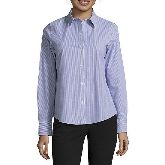 Liz Claiborne Womens Collar Neck Long Sleeve Blouse