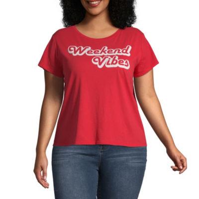 Arizona Womens Scoop Neck Short Sleeve Graphic T-Shirt-Juniors Plus
