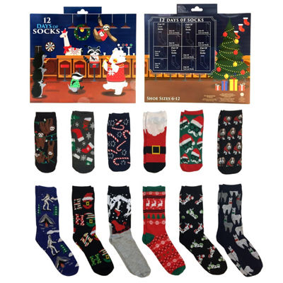 12 Days of Socks Gift Box Holiday Crew Socks-Mens