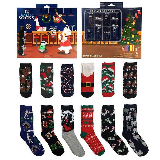 12 Days of Socks Gift Box Holiday Crew Socks-Mens