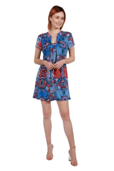 24Seven Comfort Apparel Cynthia Orange and Turquoise Mini Dress - Plus