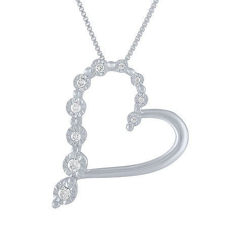 Womens 1/10 CT. T.W. Genuine White Diamond Sterling Silver Heart Pendant Necklace, One Size