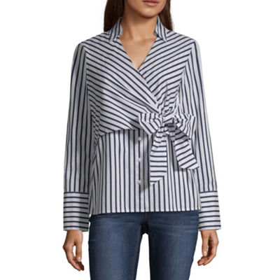 Belle + Sky Womens V Neck Long Sleeve Poplin Blouse