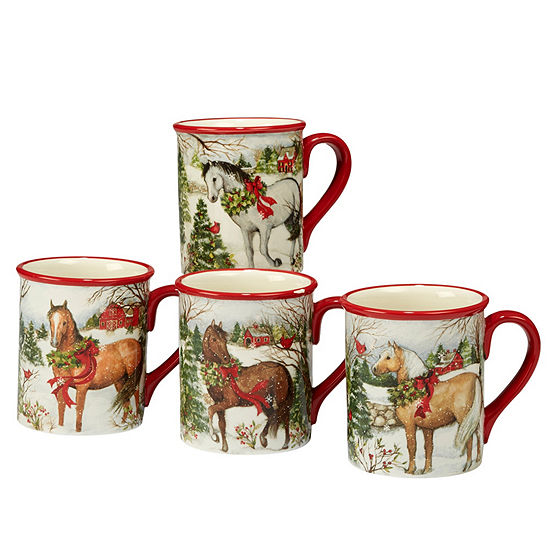 Certified International Christmas On The Farm 4-pc. Coffee Mug