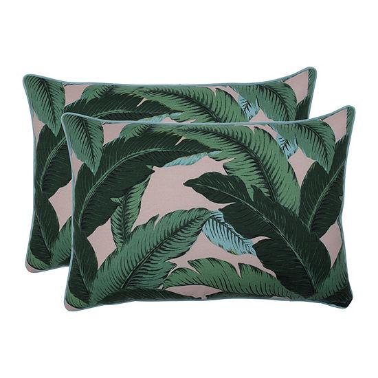 Pillow Perfect Swaying Palms Capri Set of 2 Oversized Rectangular Outdoor Throw Pillows
