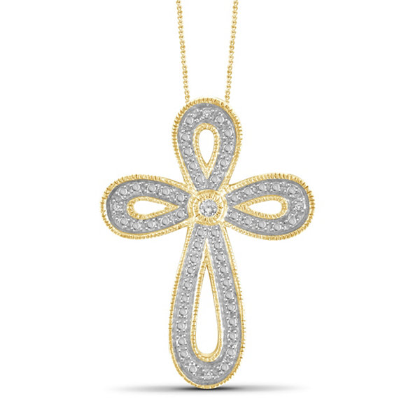 Womens Diamond Accent White Diamond Brass Pendant Necklace