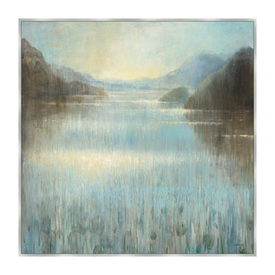 Through The Mist Square Framed Canvas Art